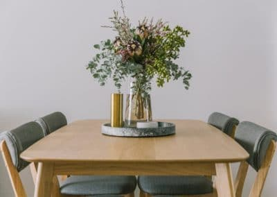 Dining table styling and accessories for a small one bedroom serviced apartment