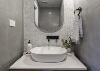 Powder room interior design and styling by Studio Black Interiors, Denman Prospect Residence, Canberra, Australia.