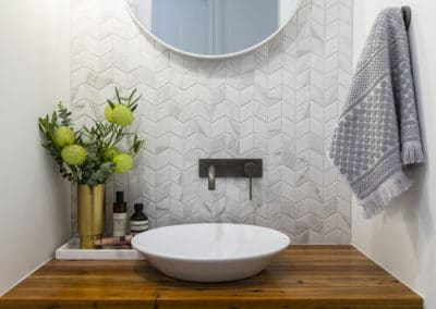 Powder room interior design and styling by Studio Black Interiors