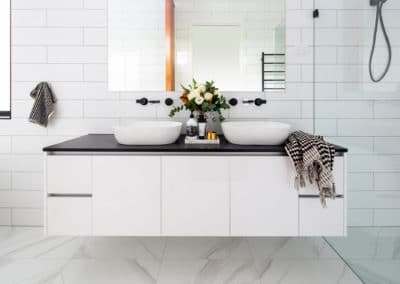 Bathroom interior design and styling by Studio Black Interiors, Downer Residence, Canberra, Australia.