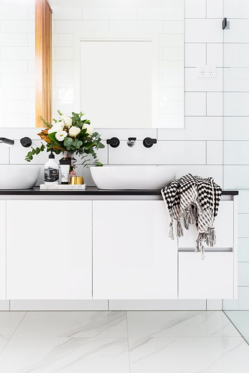 Bathroom interior design and styling by Studio Black Interiors.