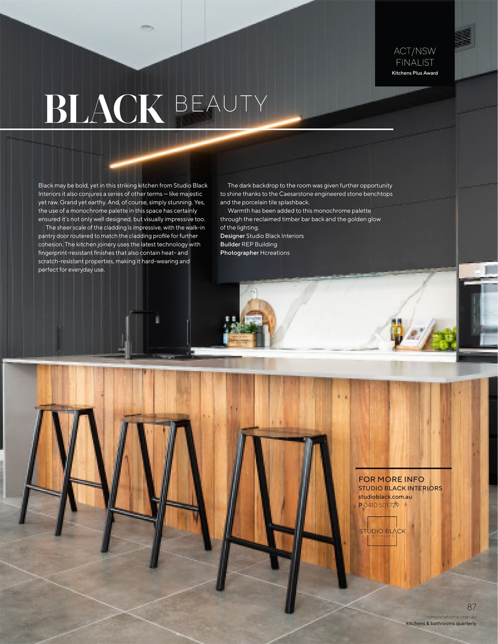 Studio Black Interiors is proudly featured in the October edition of Kitchens and Bathroom Quarterly October 2020.