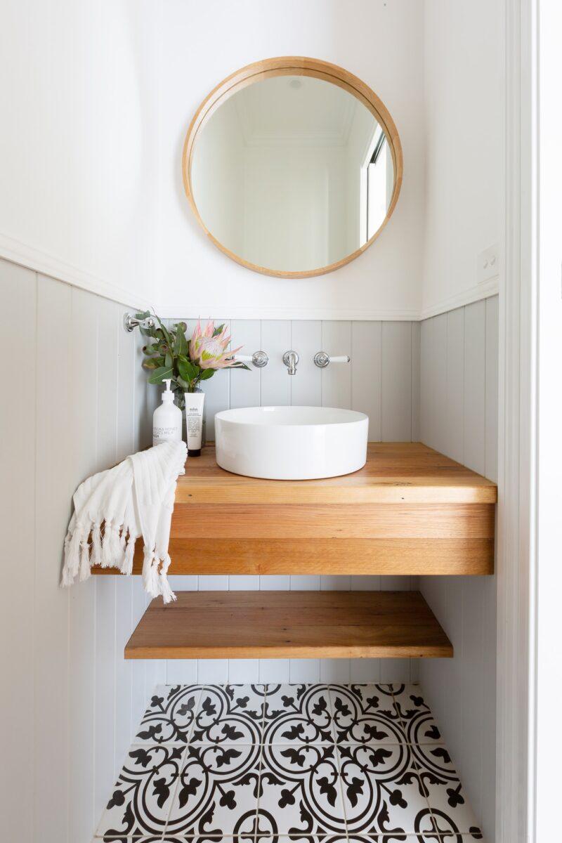 Powder room. Interior design by Studio Black Interiors, Yarralumla residence, Canberra, Australia.