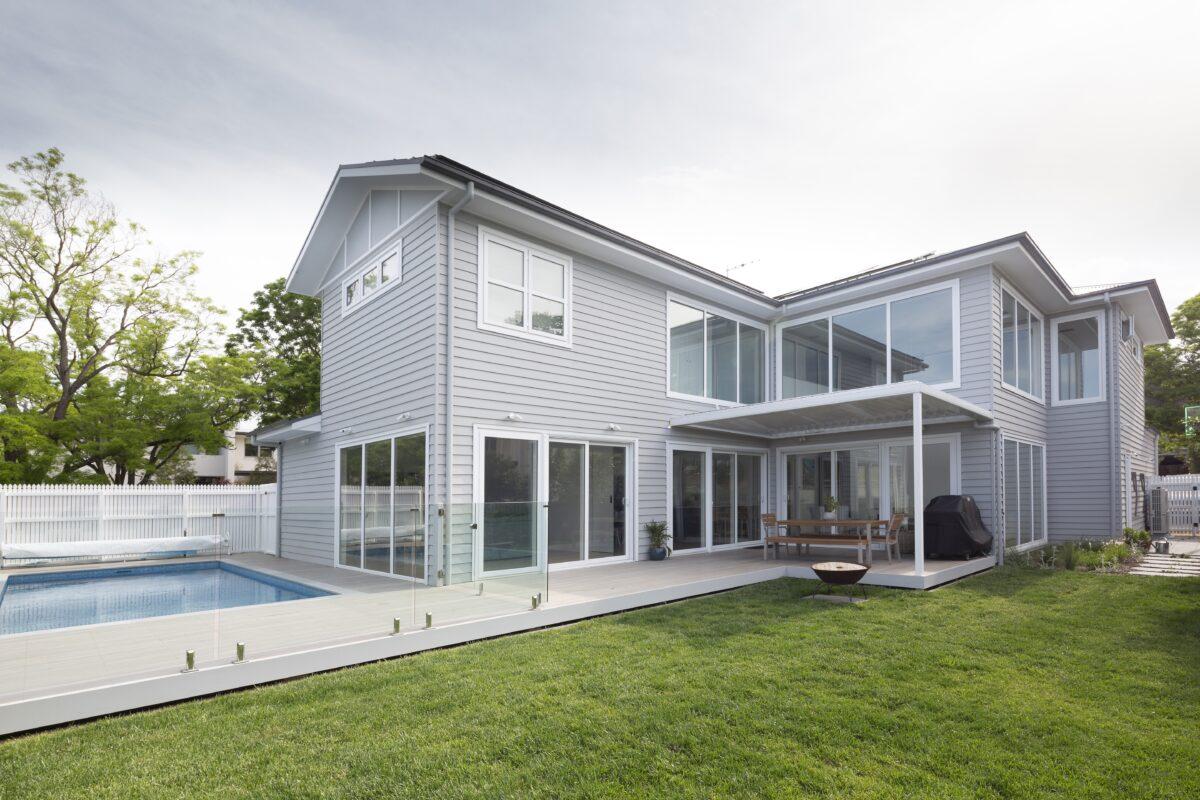 Hampton style backyard. Interior design by Studio Black Interiors, Yarralumla residence, Canberra, Australia.
