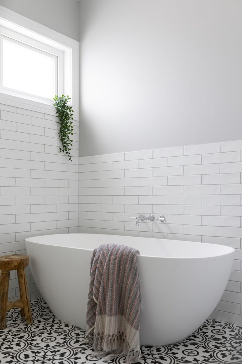 Hampton style ensuite. Interior design by Studio Black Interiors, Yarralumla Residence, Canberra, Australia.