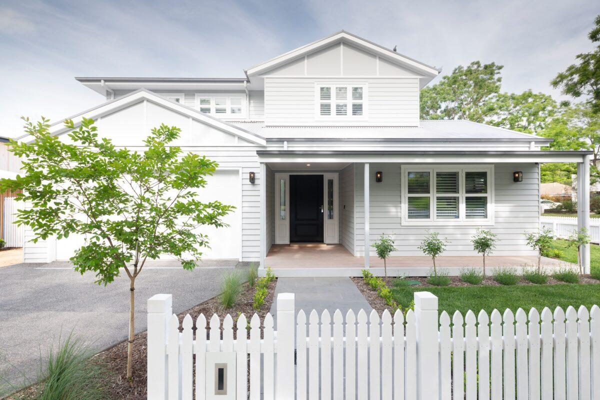 Hampton's style front exterior. Interior design by Studio Black Interiors, Yarralumla Residence, Canberra, Australia.