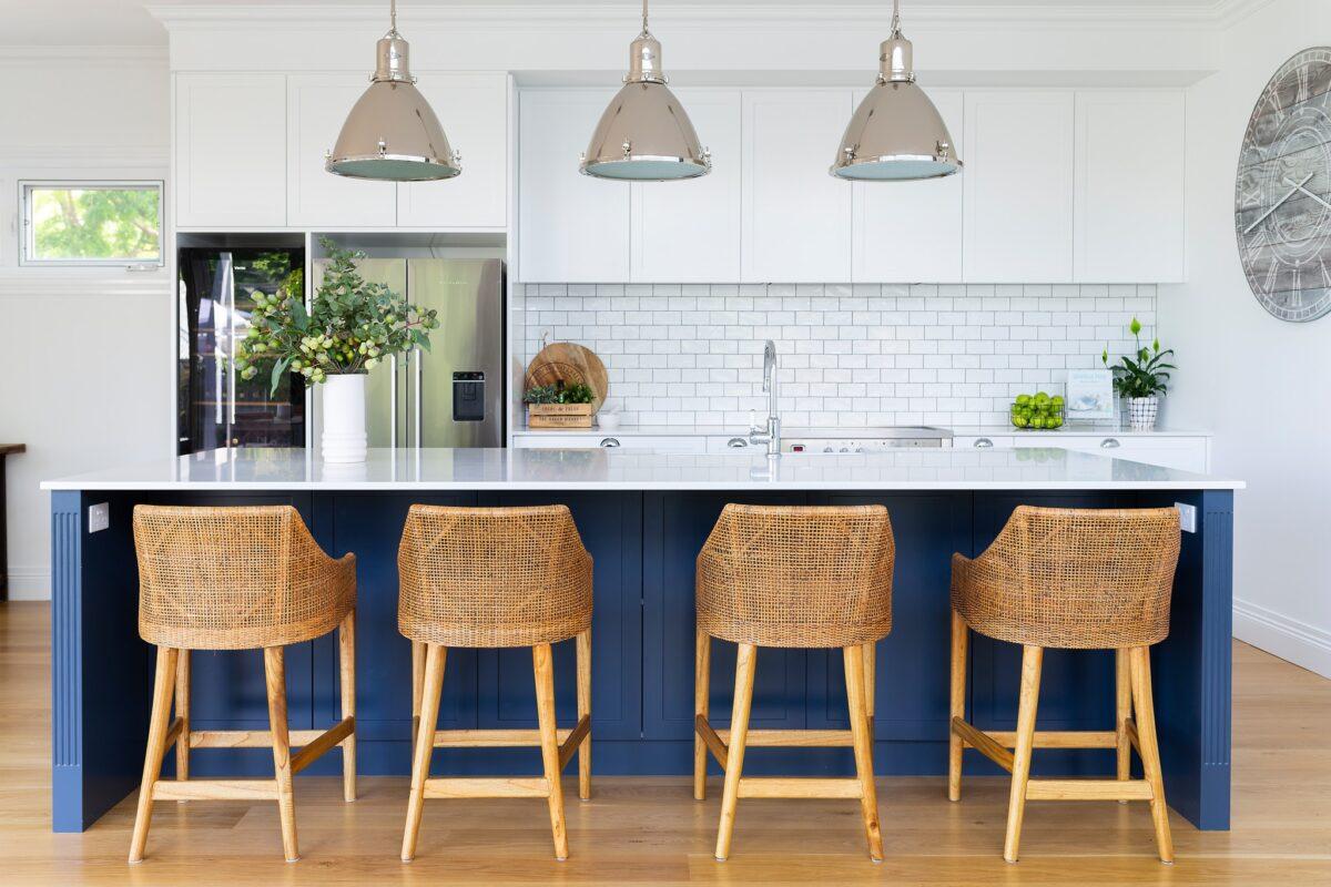 Hampton style kitchen. Interior design by Studio Black Interiors, Yarralumla Residence, Canberra, Australia.