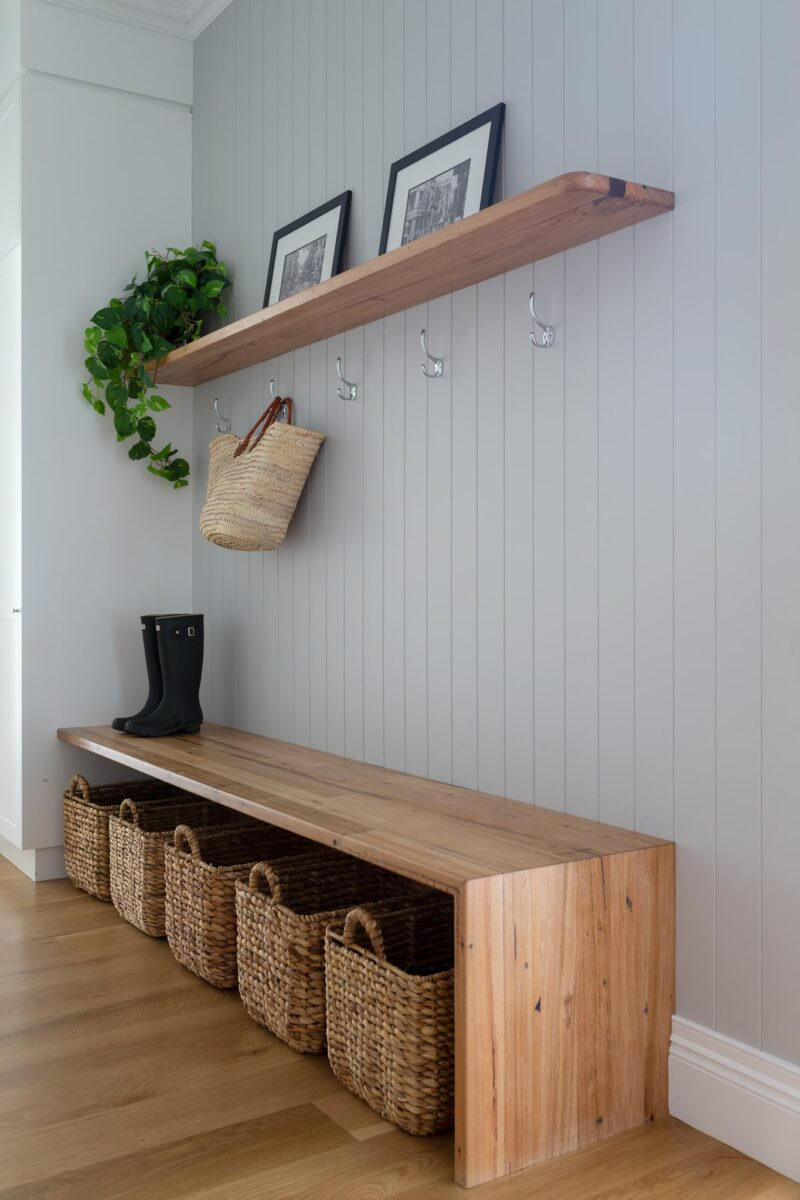 Modern Hampton Style Mudroom. Interior design by Studio Black Interiors, Yarralumla Residence, Canberra, Australia.
